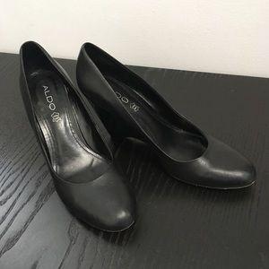 Aldo Black Leather Dress Wedge Heel